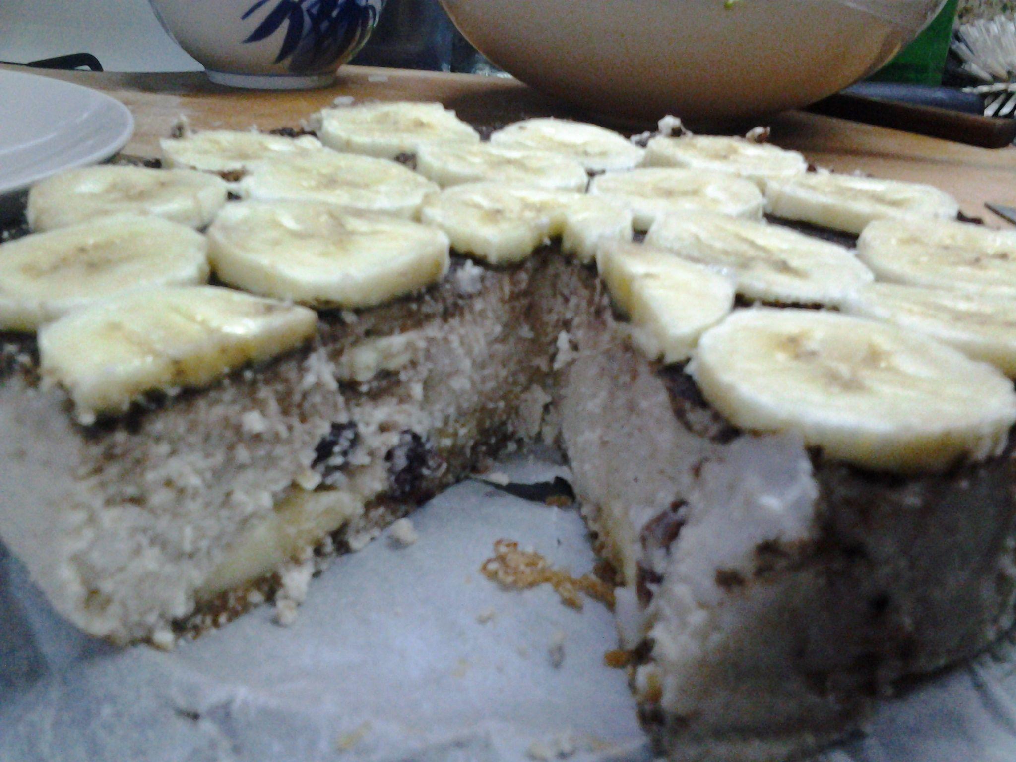 Raw coconut-banana cake