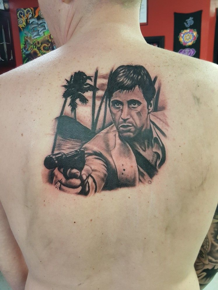 d1e3c8694 Scarface Tattoo By Brandon Hunt | black and grey tattoos | Chest ...
