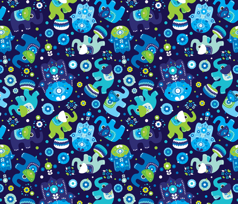 Colorful Fabrics Digitally Printed By Spoonflower Blue Boy Elephant And Hand Of Fatima Pattern In 2021 Animal Print Wallpaper Hand Of Fatima Cute Wallpaper Backgrounds