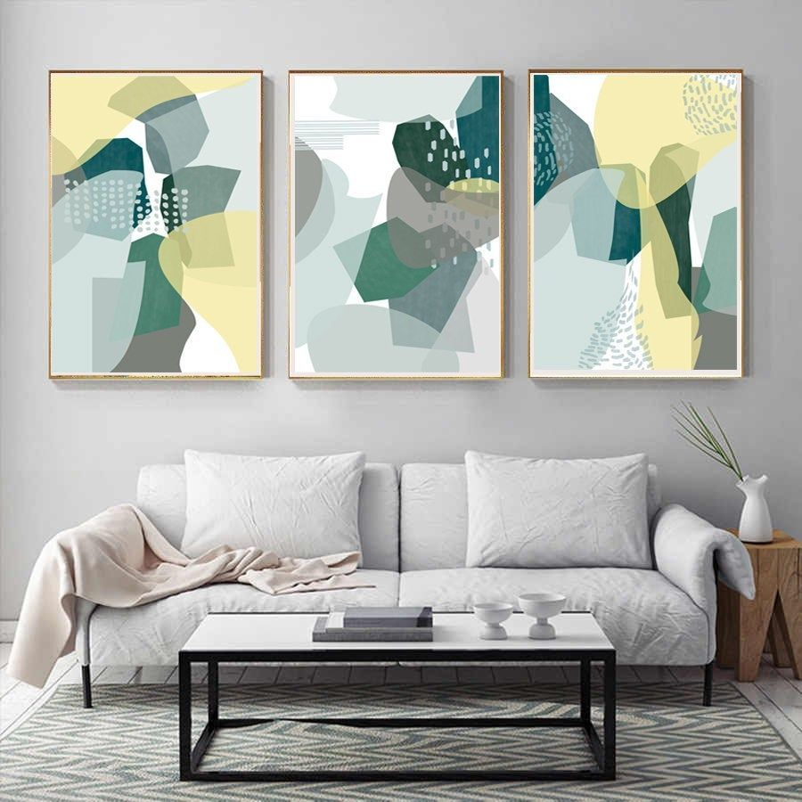 Abstract Shapes Green Yellow Poster Set Of Three Prints Modern Etsy In 2021 Modern Wall Art Living Room Wall Art Decor Living Room Wall Art Living Room