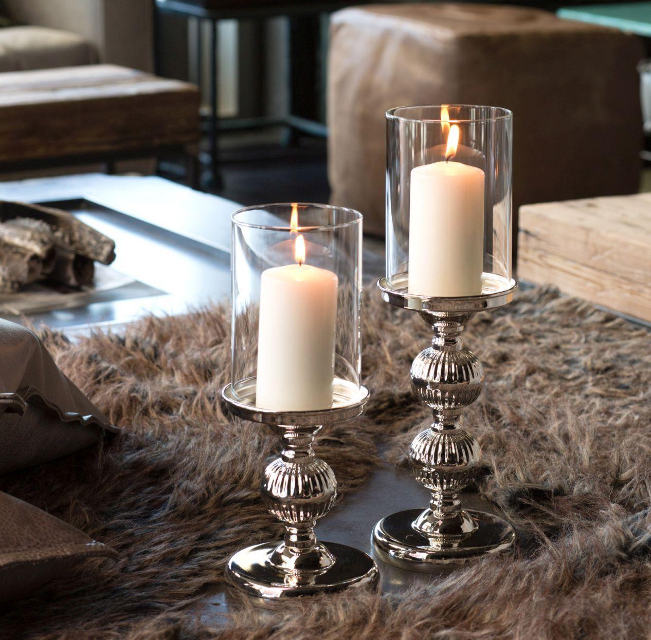 Windlicht kerzenhalter versilbert bezahlbarer luxus in silber deko - Luxus wohnaccessoires ...