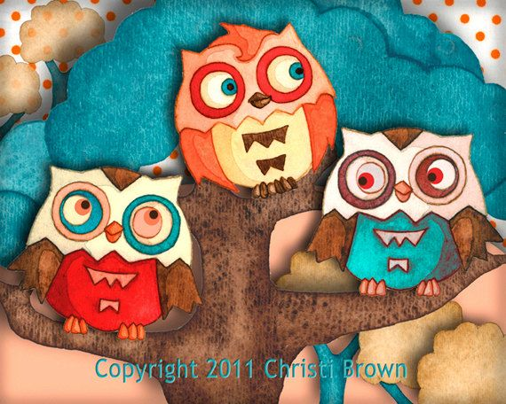 Owls Nursery Art Decor Recycled Paper Print Boys by ApplewoodKnoll, $25.00