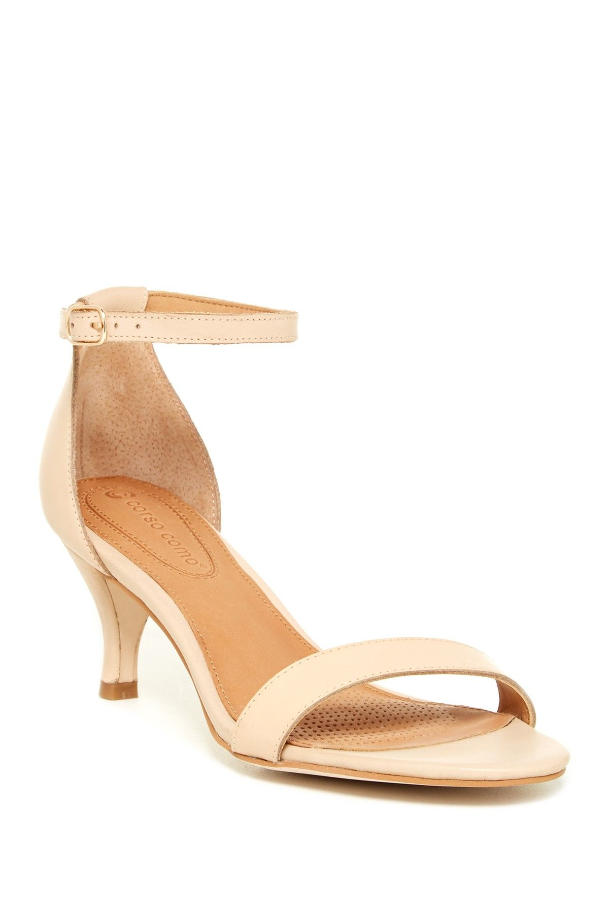 Love these Nude Ankle Strap Low Heel Sandals