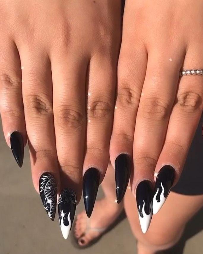 black stiletto dragon nails