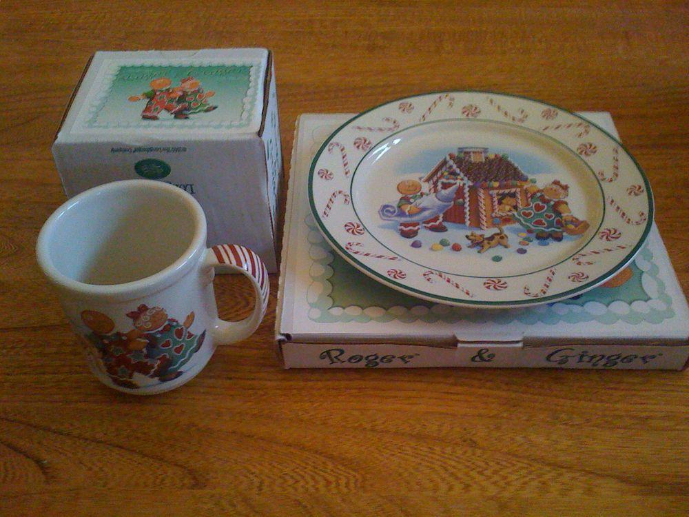 Longaberger 2000 Roger and Ginger Christmas Plate and Mug & Longaberger 2000 Roger and Ginger Christmas Plate and Mug ...