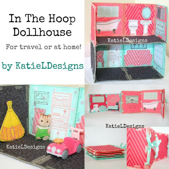 In The Hoop Dollhouse Set Machine Embroidery Design Pattern