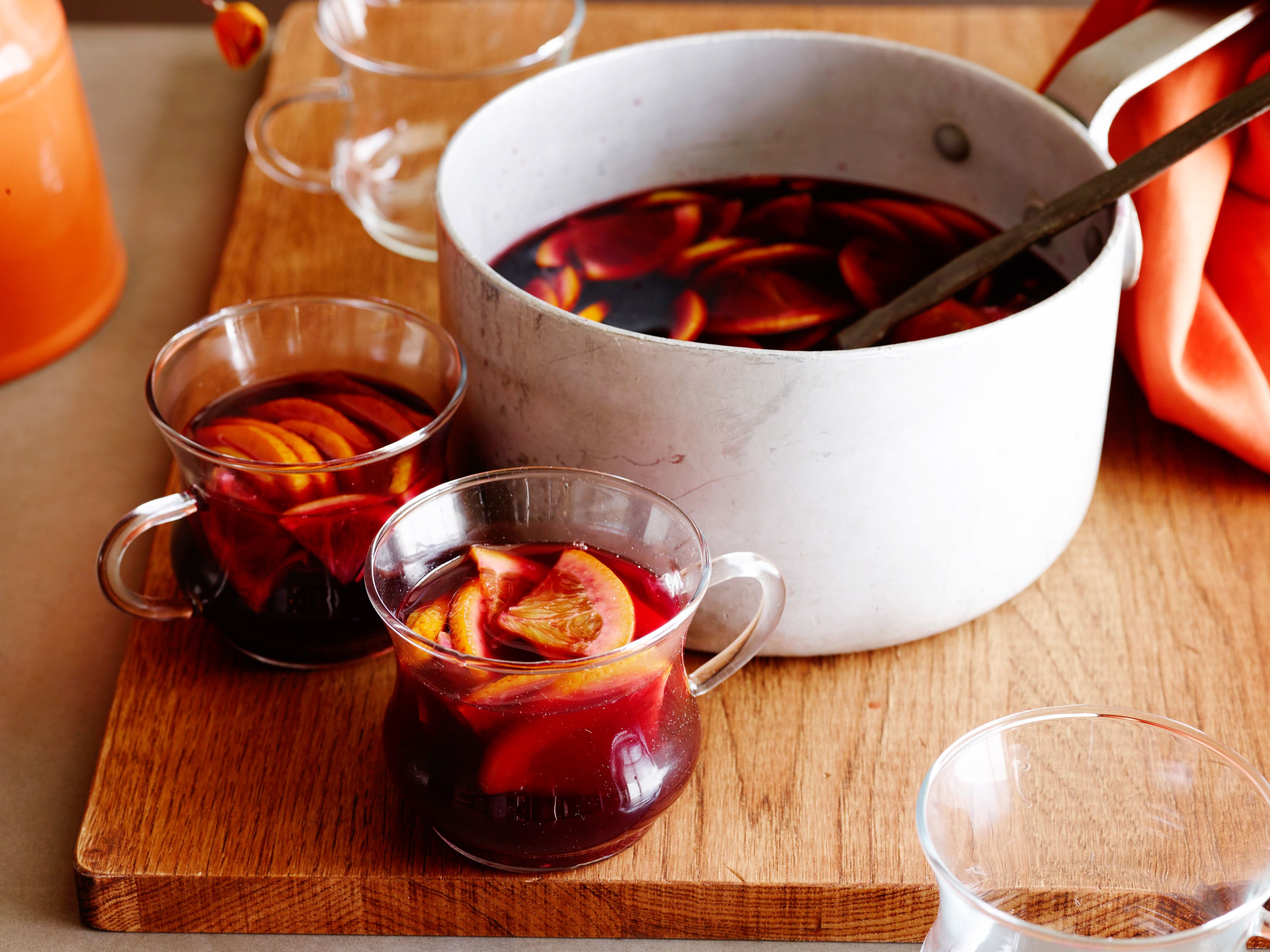 Mulled Red Wine Sangria Recipe Red Wine Sangria Food Network Recipes Sangria Recipes