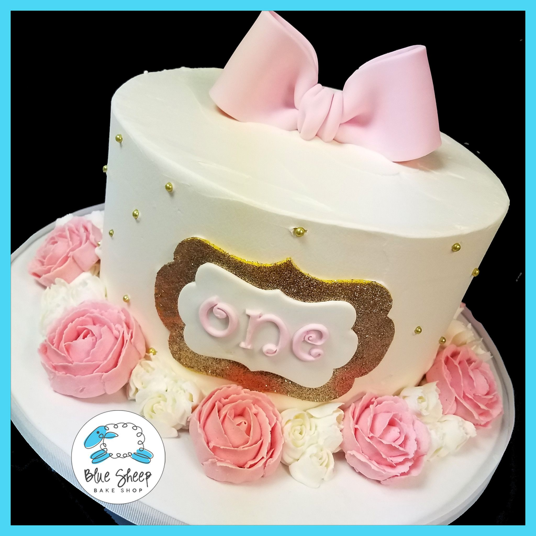 Pink & Gold 1st Birthday Cake With Buttercream Roses
