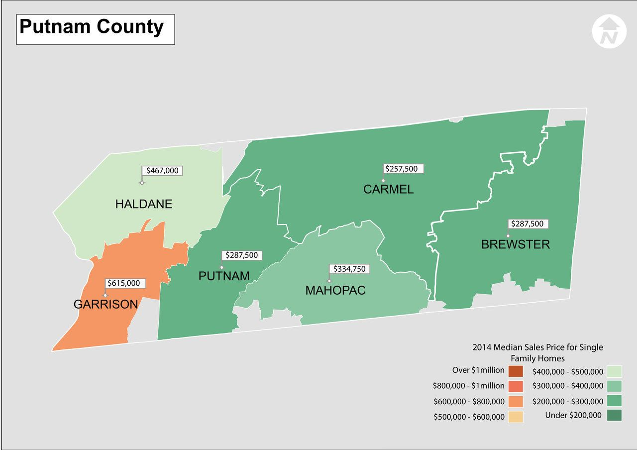 Garrison New York Map.Putnam County New York Real Estate Median Sales Price From 2014