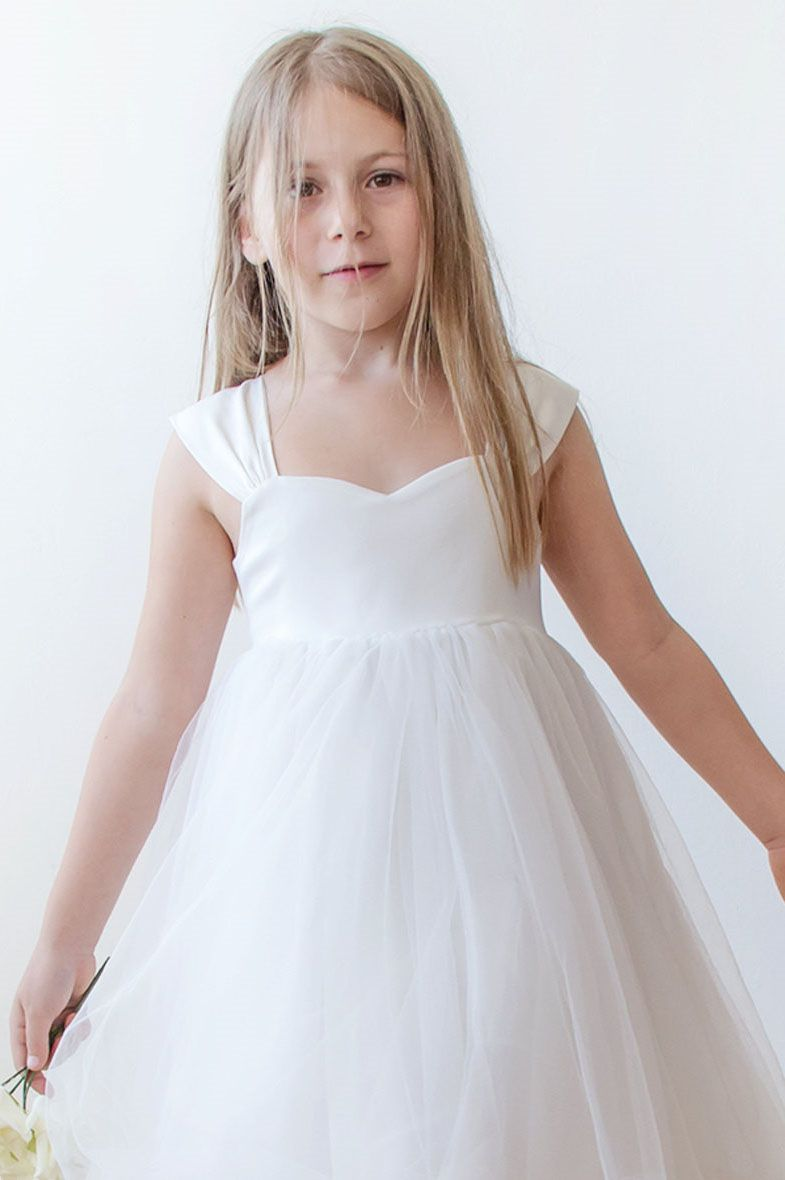 Princess short pink knee length flower girl dress prom