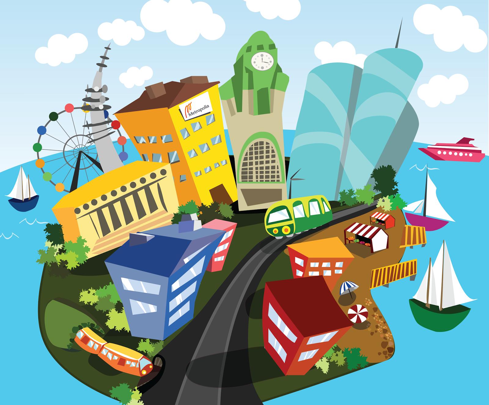 prezi background road illustration design items on