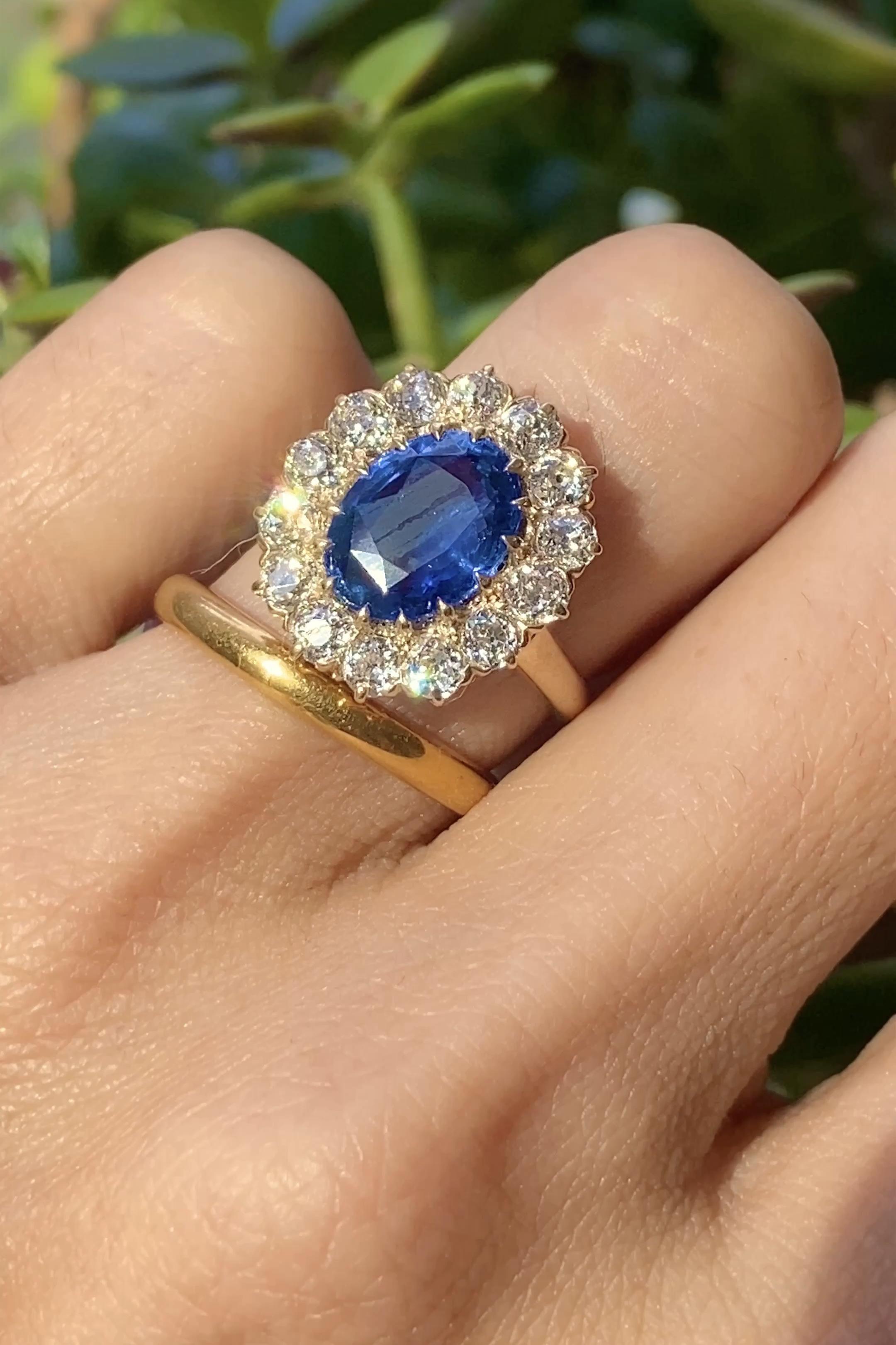 Oval Cut Blue Sapphire Montana CZ 18k Gold Over Ring 5-10