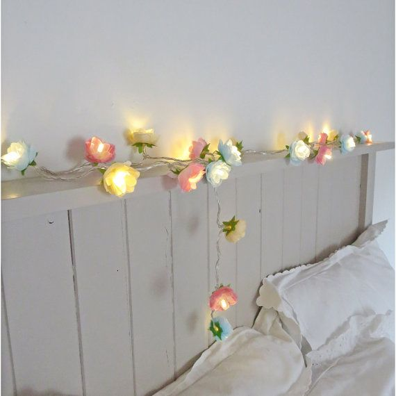 Rambling Rose Fairy Lights In Pale Blue Pink And Parchment String Garland Flower