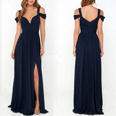 long bridesmaid dress, navy bridesmaid dress, cheap bridesmaid dress, lchiffon bridesmaid prom dress, off shoulder bridesmaid dress,BDS293