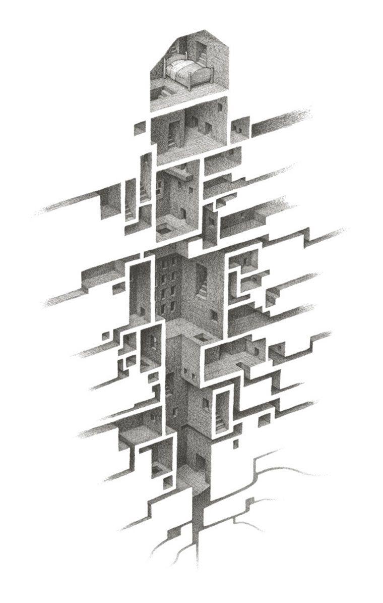 Die verr ckten labyrinthe zeichnungen von mathew borrett zeichnen pinterest - Architektur skizzen zeichnen ...