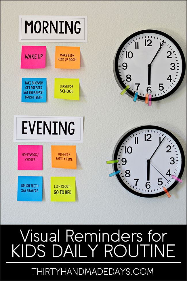 Visual Reminders for Kids Daily Routines   School, Parents and ADHD