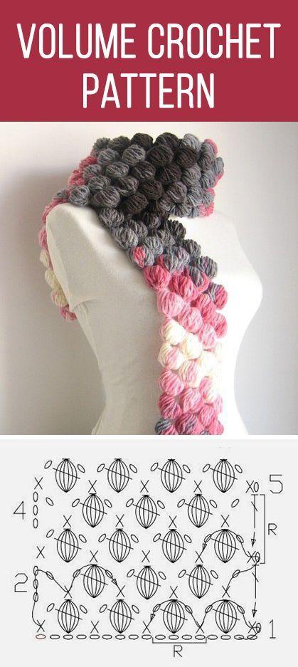 Volume crochet pattern bufanda … | Costura …