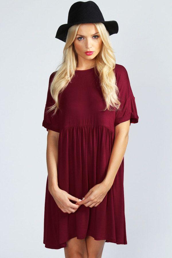 12++ Boohoo oversized smock dress ideas