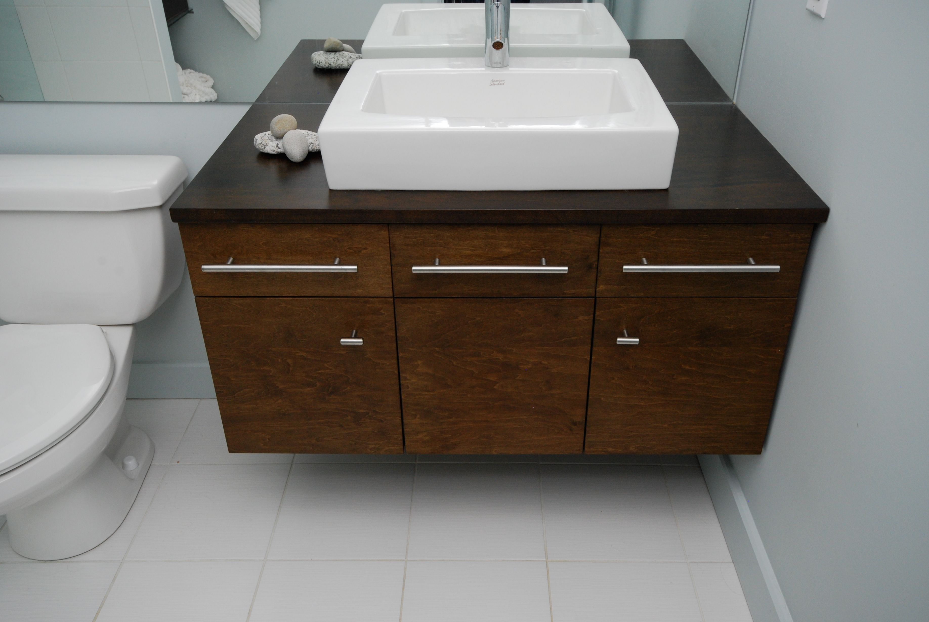 double sink vanity with granite top. Chic Modern Wooden Chocolate Floating Black Countertop Granite Cabinet Plus  White Undermount Sink And Chrome Faucet