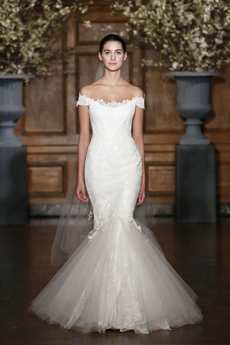 Off the shoulder lace wedding dress by legends by romona keveza