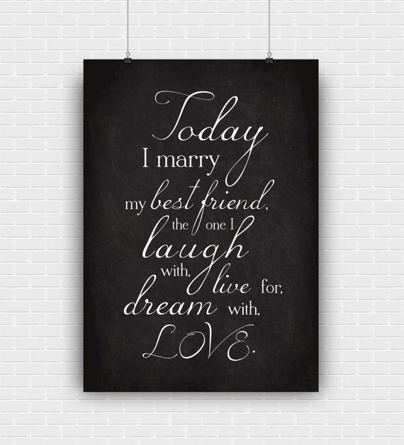Wedding art print. Today I marry my best friend by PenguinGraphics
