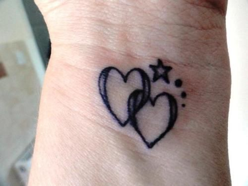 7398ed742 Two Black Small Linked Love Hearts With Stars Tattoo Heart Tattoos ...