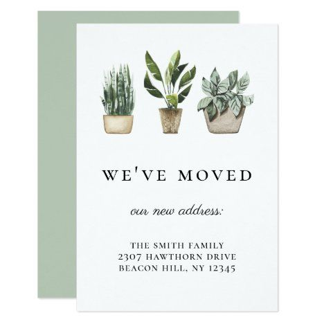 Rustic Potted Plants We've Moved Announcement