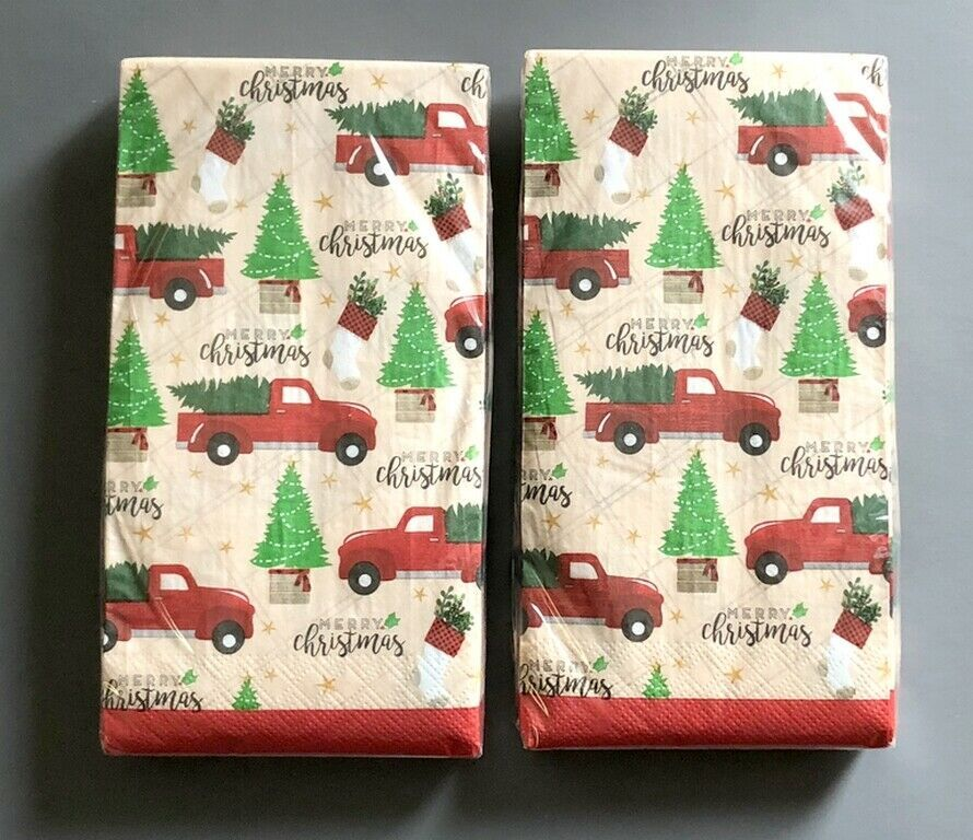 Red Farm Truck Guest Towels 20 Ct Buffet Paper Napkins 2 Pks Merry Christmas Nantucket Christmas Guest Towels Guest Hand Towels Birthday Decoration Supplies