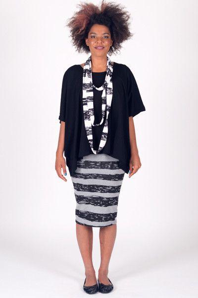 Stripe Squiggle - Pencil Skirt Stretch - Black/Grey Marl