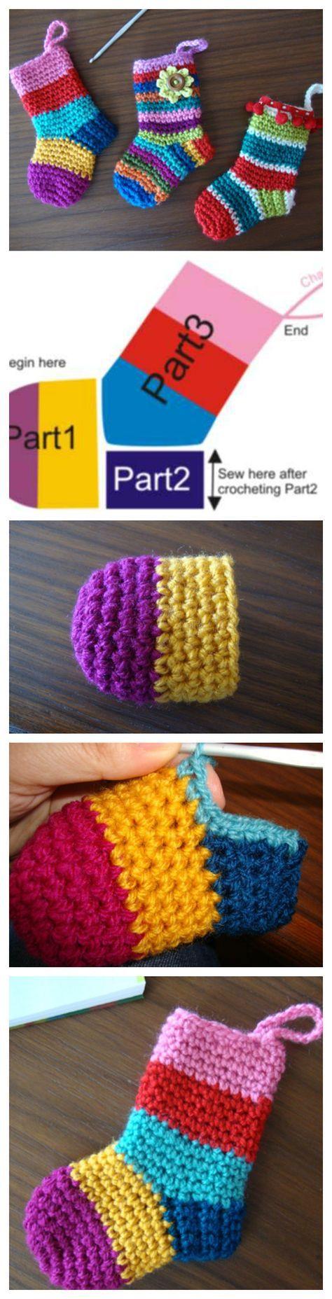 Mini Christmas Stockings Crochet Pattern | Strumpf häkeln, Strümpfe ...