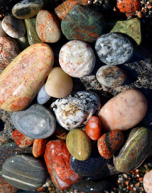 Beach Beauties  ( Worth a Look Big  if you have a minute) is part of Stone rocks - I collected these rocks in about two minutes yesterday, as I was walking along a favourite stretch of Lake Superior  This beach runs for a mile or more, and is littered with rocks of every colour and size  It is worth a visit, even though it is a little out of the way, just to see these colourful and interesting stones that have been smoothed and polished over the centuries by the waves