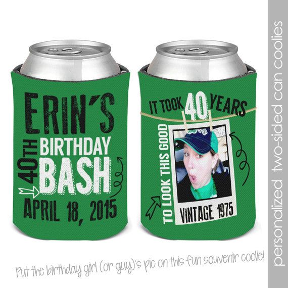Personalized Photo Birthday Party Can Coolies, Beverage