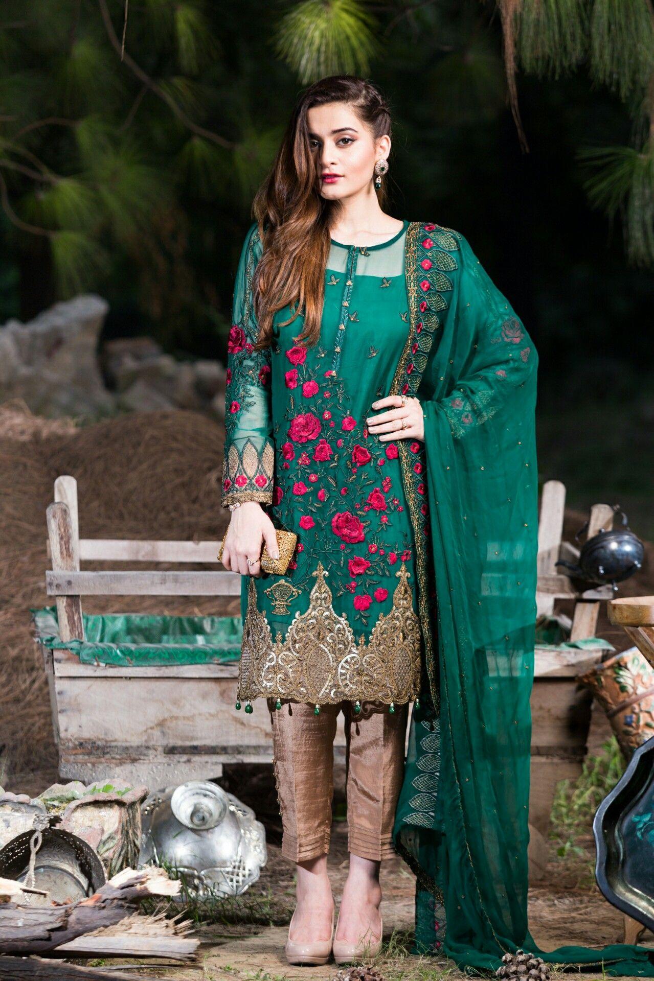 emerald green Pakistani dresses online