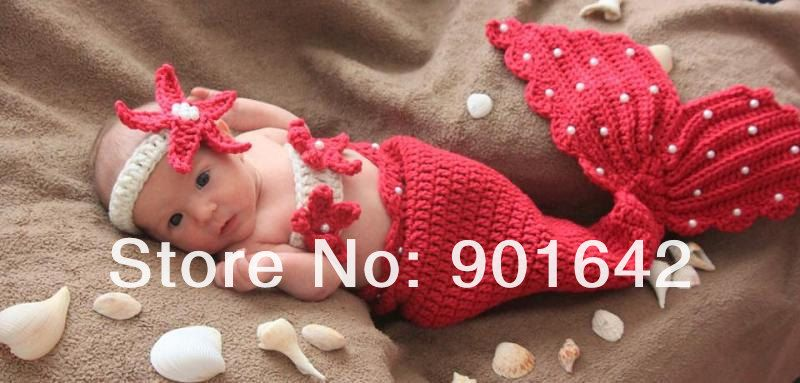 Baby Girls Newborn 9m Knit Crochet Red Mermaid Costume Photo Prop