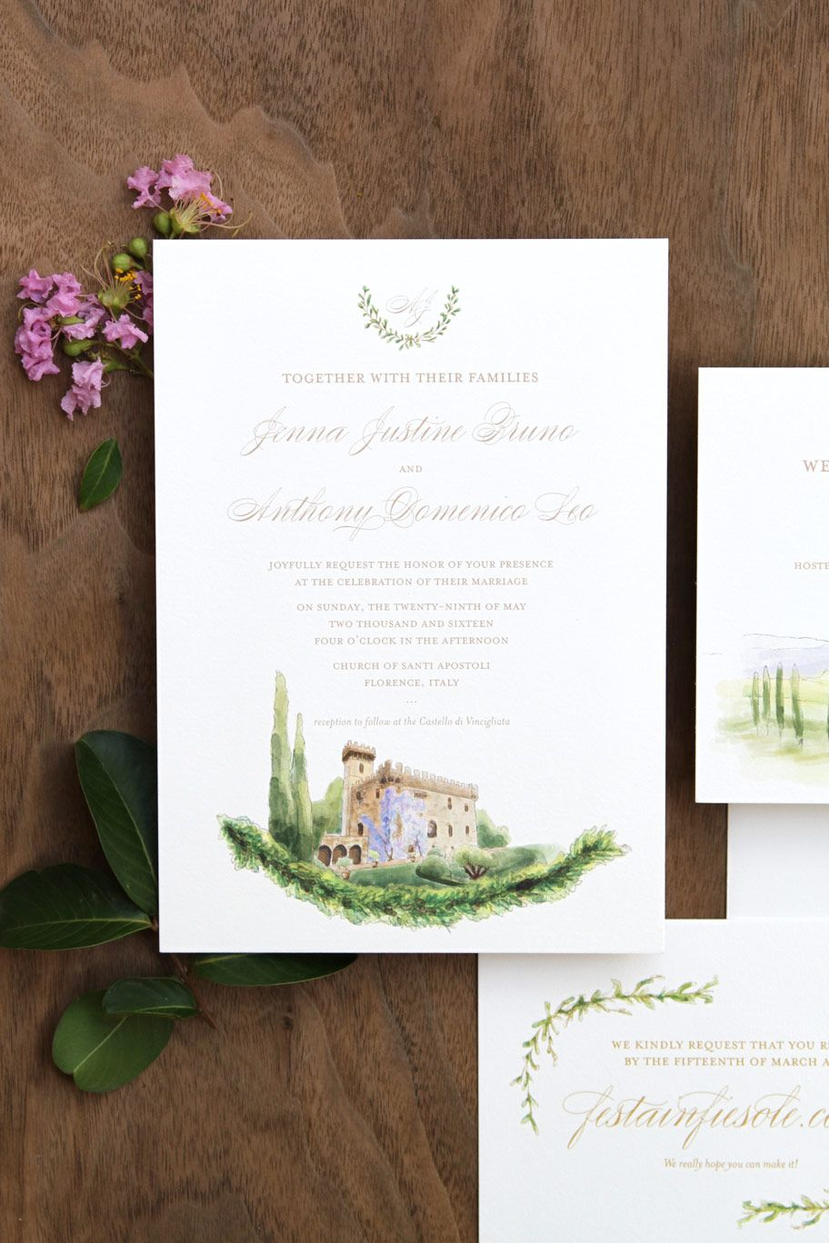 Classic custom wedding invitation for a destination wedding in ...