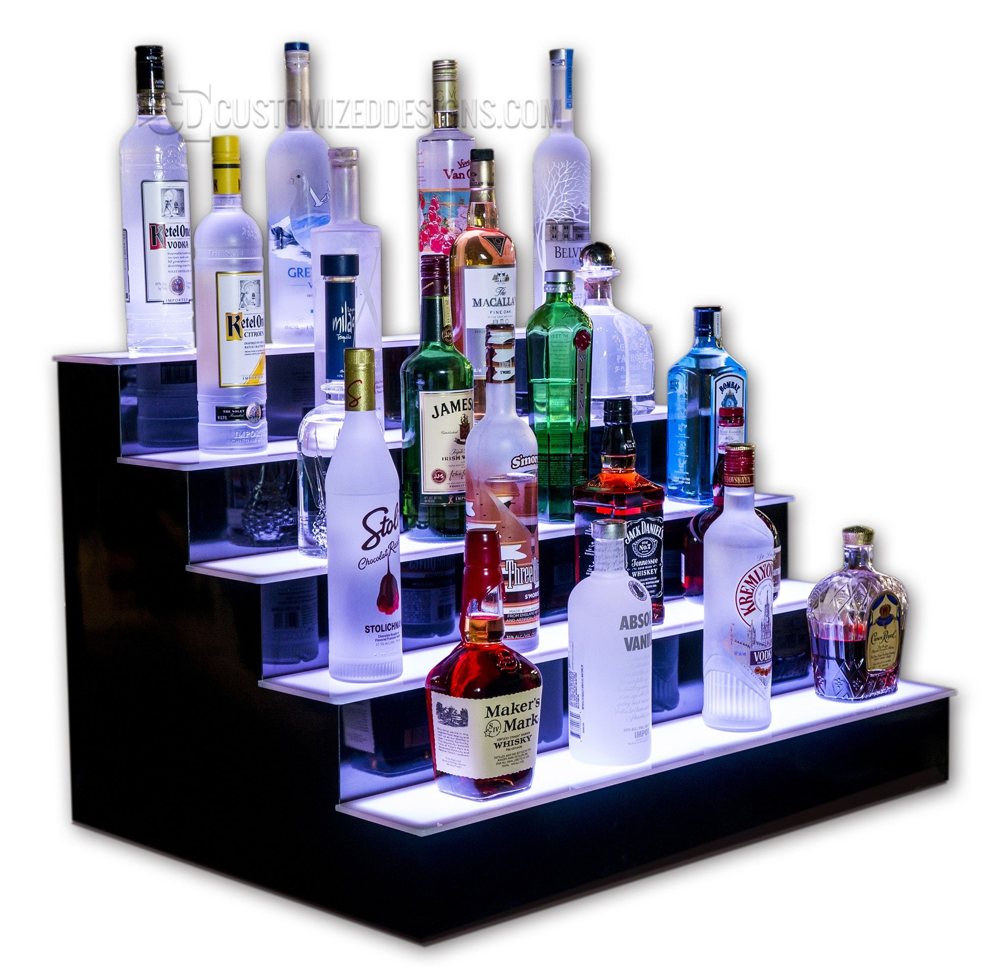 5 Tier Lighted Bottle Display Bar shelves, Bar displays