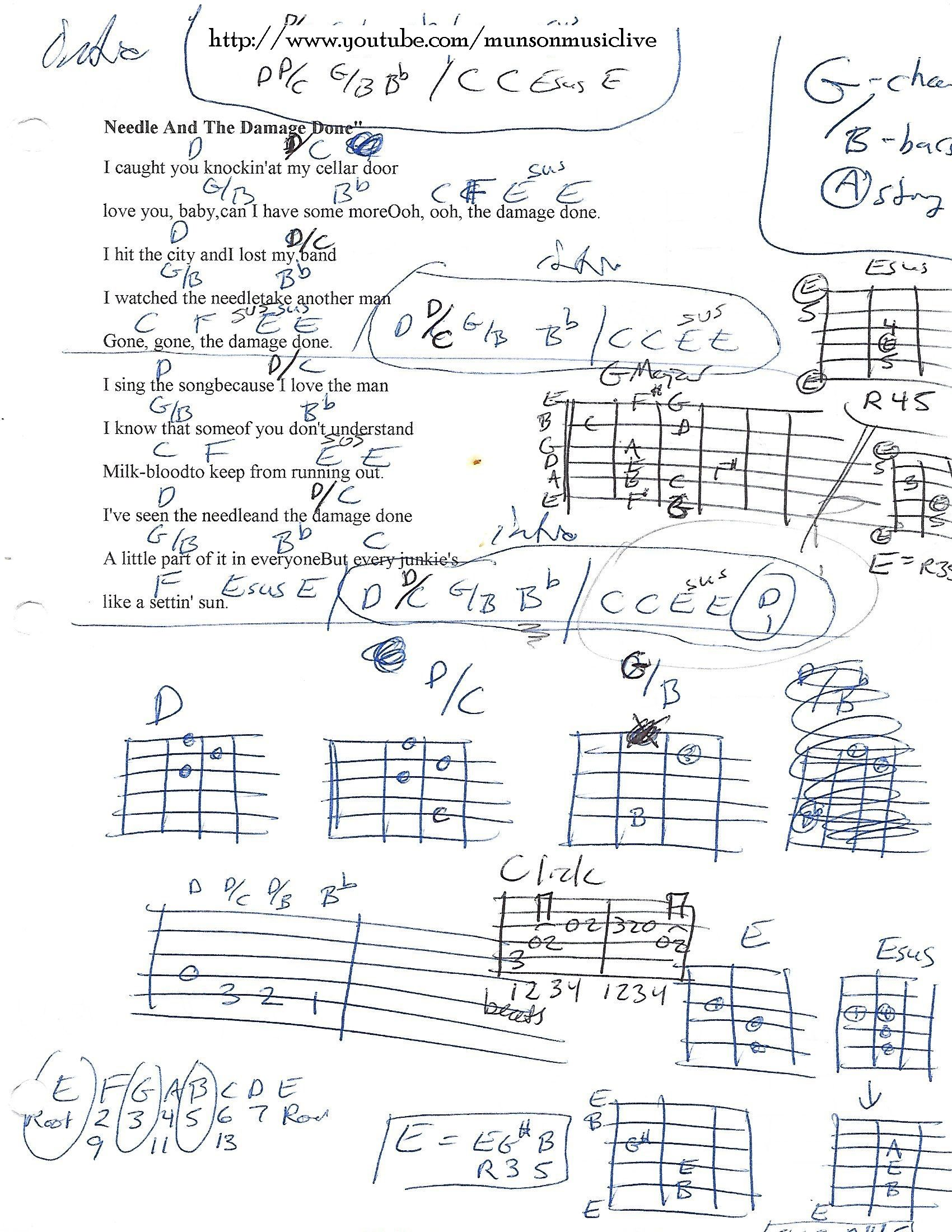 Needle and the Damage Done Neil Young Guitar Chord Chart   Learn ...