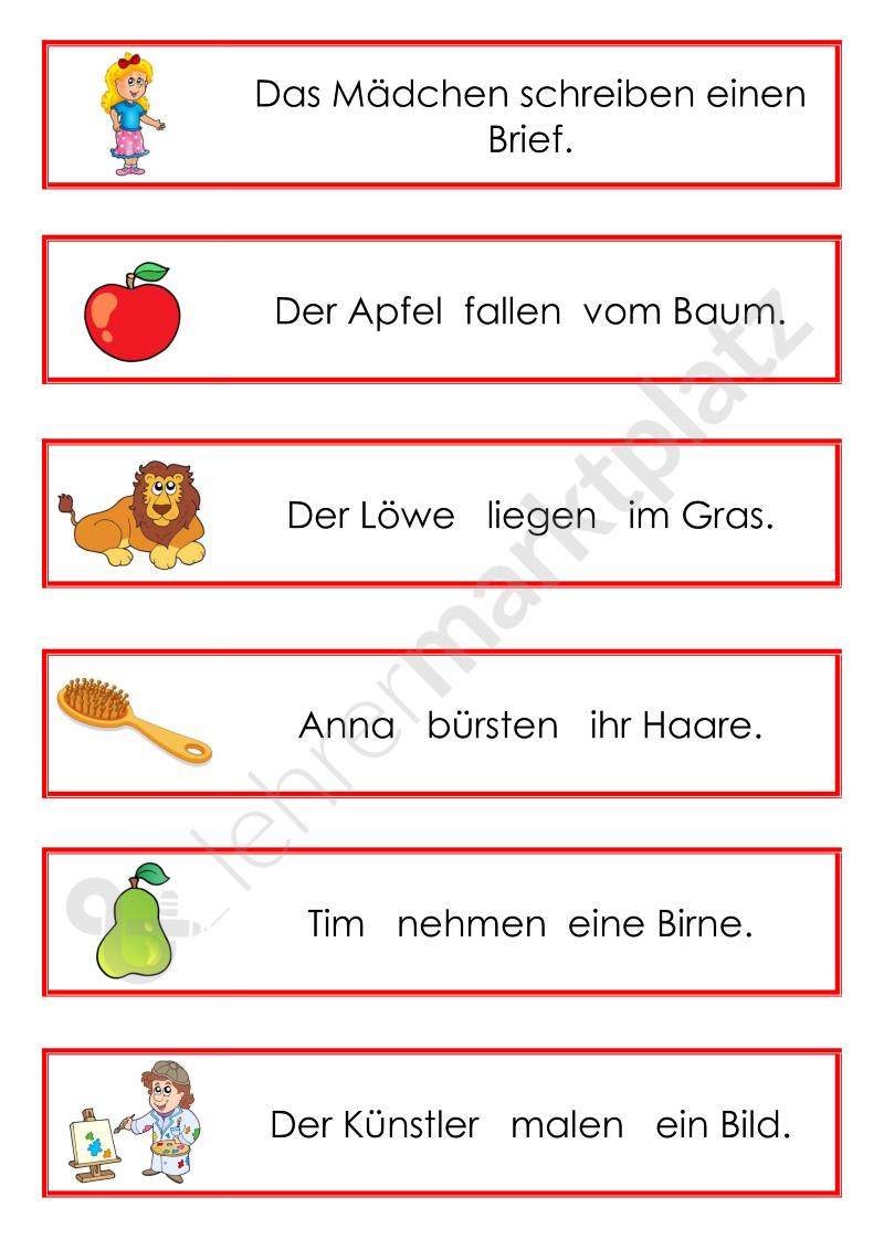 Das Verb verändert sich - Satzstreifen – DaZ / DaF, Deutsch | Deutsch