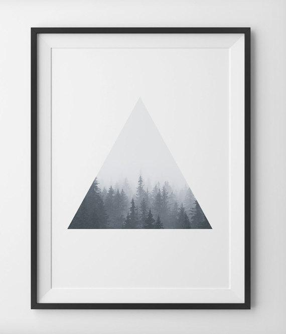 Geometric Triangle Forest Print Minimalist Forest by PeakPrintsSF