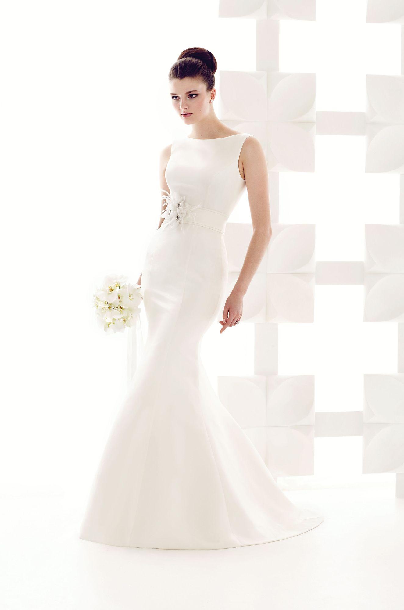 Satin high neckline wedding dress style flare wedding and