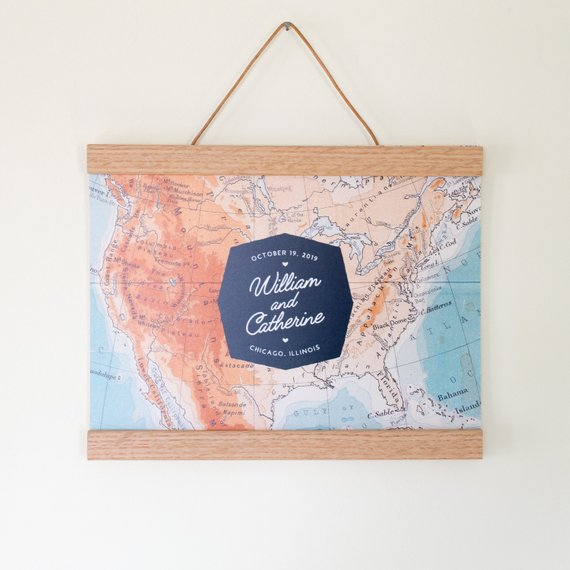 Us Map Picture Frame.Personalized Us Map Guest Book Alternative With Optional Oak Frame