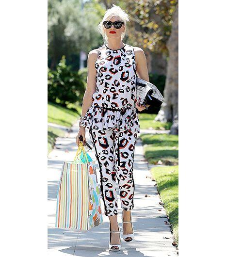 Gwen Stefani L.A.M.B. blouse., trousers, bag, and shoes