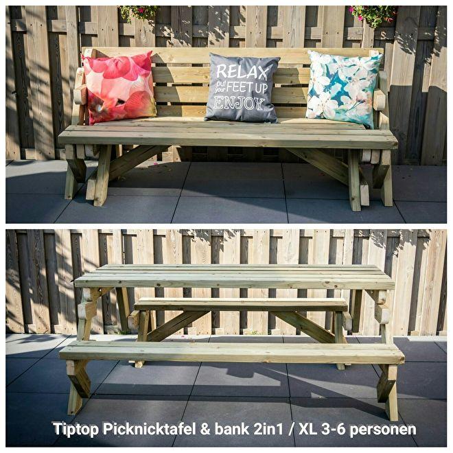 TipTop Picknicktafel & bank 2in1 * (XL-model 3/6 personen) * Ophaalprijs | ✔ Opvouwbare Picknicktafel 2in1 | TipTop Projecten