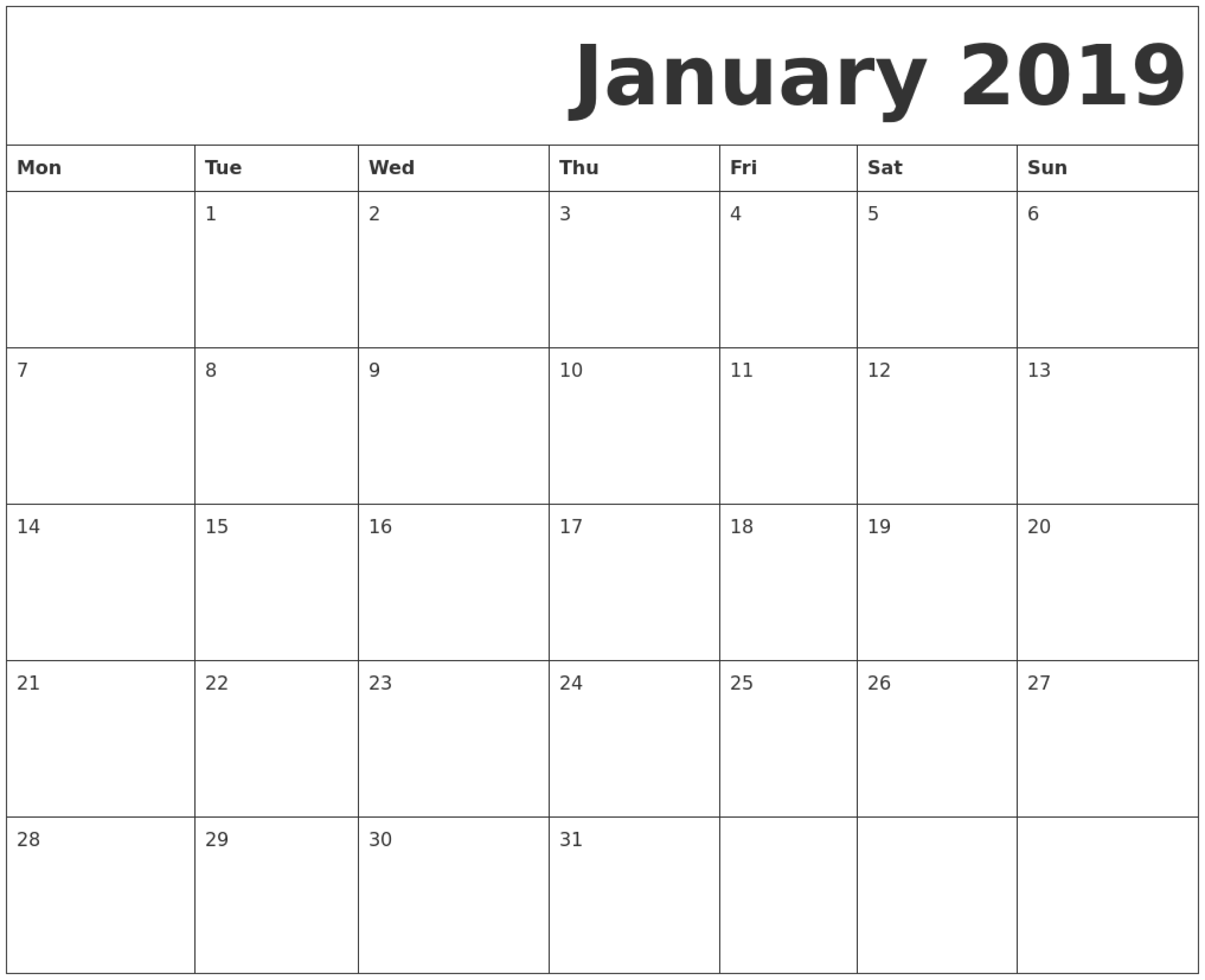 January Printable Calendar Monday Start