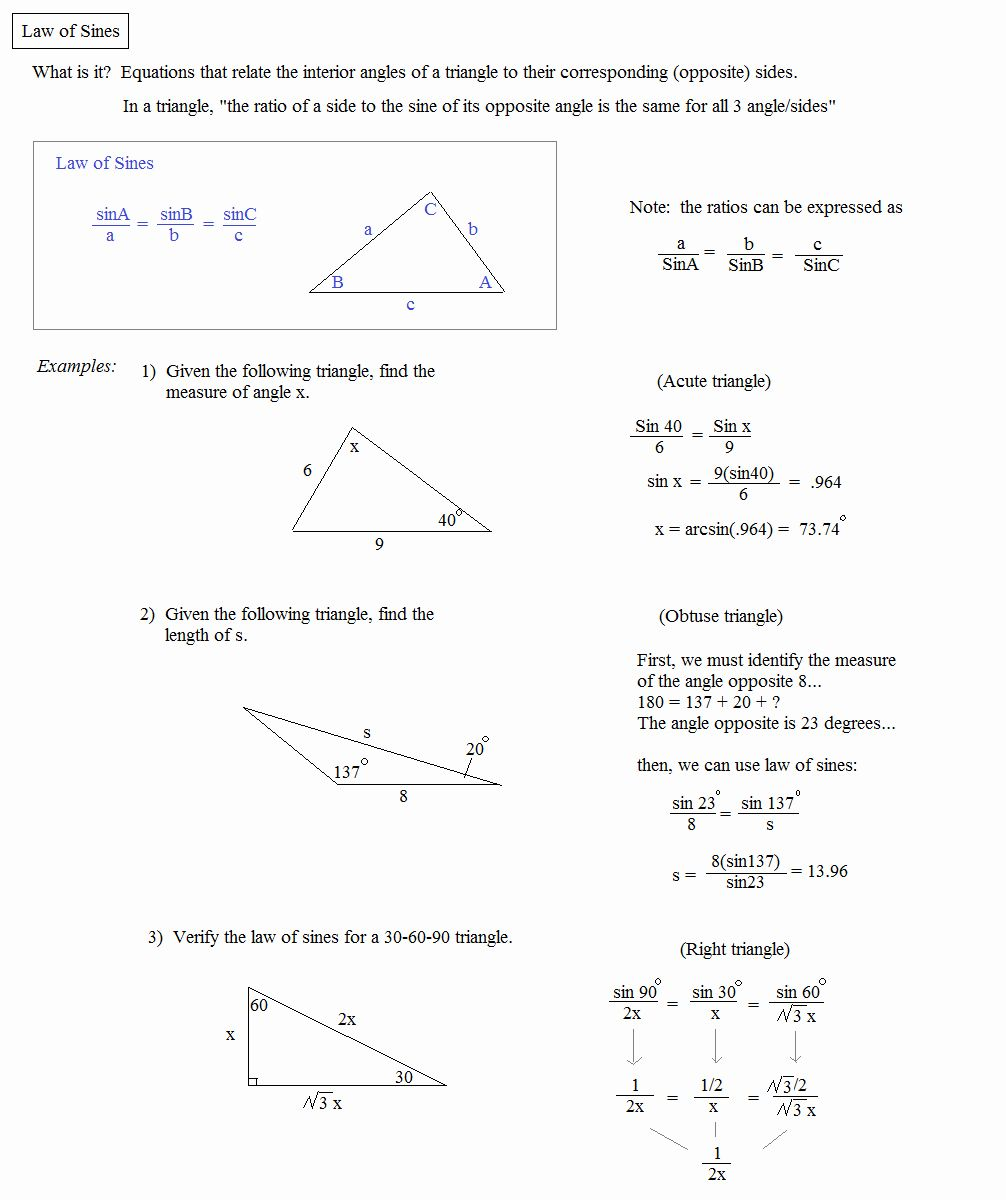 50 Law Of Sines Worksheet Answers in 2020   Law of sines ...