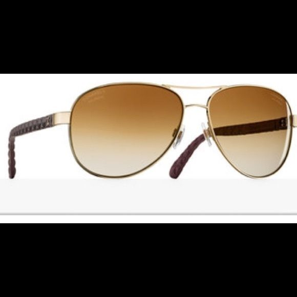 8ddbced190d Chanel aviator sunglasses 18 karat gold mirror lens - gold and brown frame  - made with metal