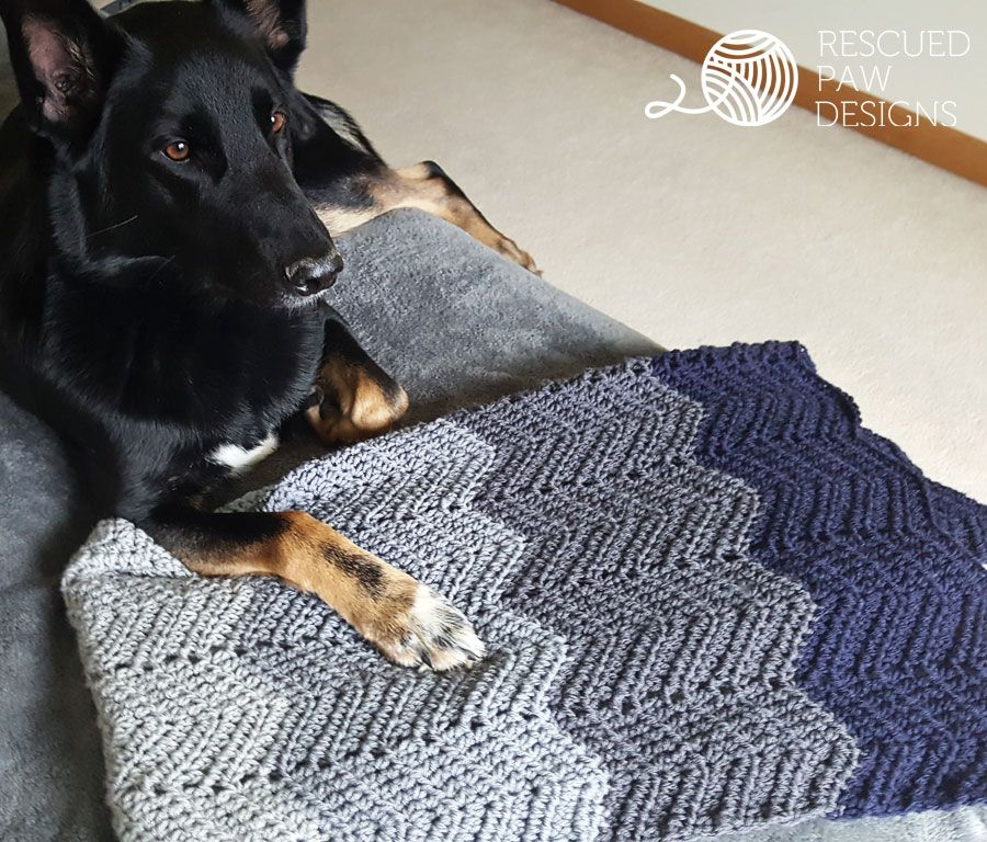 Ombre Ripple Crochet Blanket Pattern by Rescued Paw Designs | Labores
