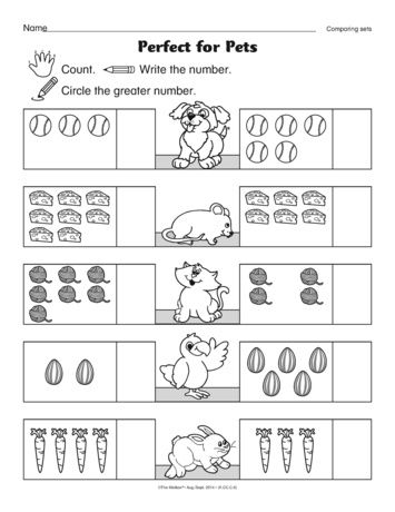 A Math Worksheet For Beginning Mathematicians Comparing Sets A