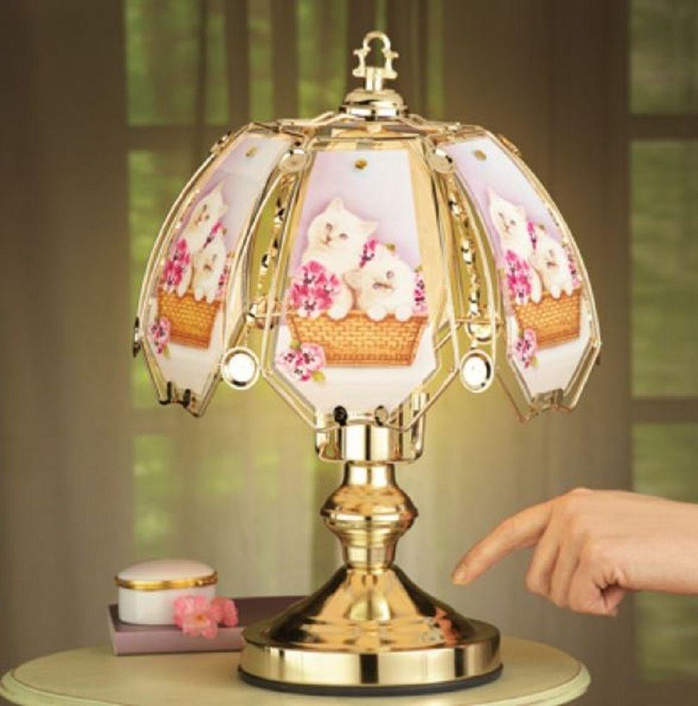 Bedroom Touch Lamp 3 Way Light Cats Glass Panel Lighting My Kitten