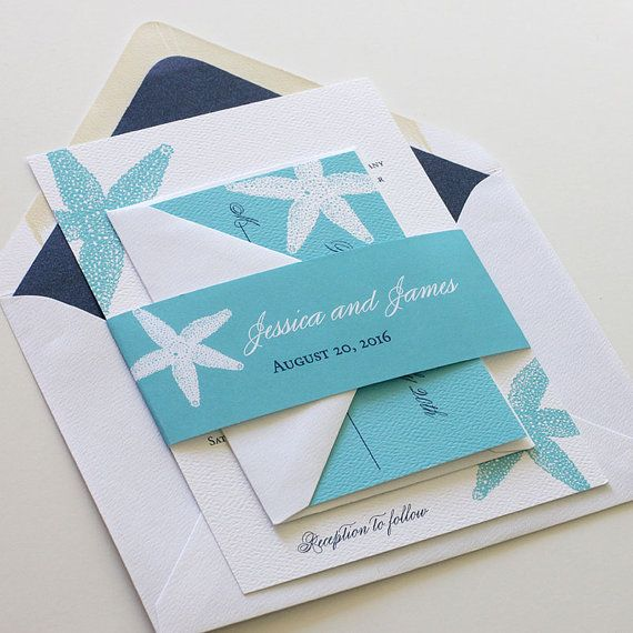 Starfish Wedding Invitation Beach Wedding Invitation Turquoise